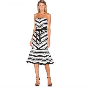 Alexis Kirsten Strapless Dress in Black & White
